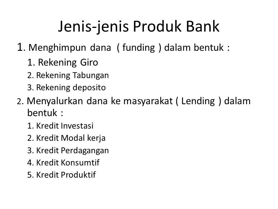 Jenis-jenis Produk Bank 1. Menghimpun dana ( funding ) dalam bentuk : 1. Rekening Giro 2. Rekening Tabungan 3. Rekening deposito 2. Menyalurkan dana k
