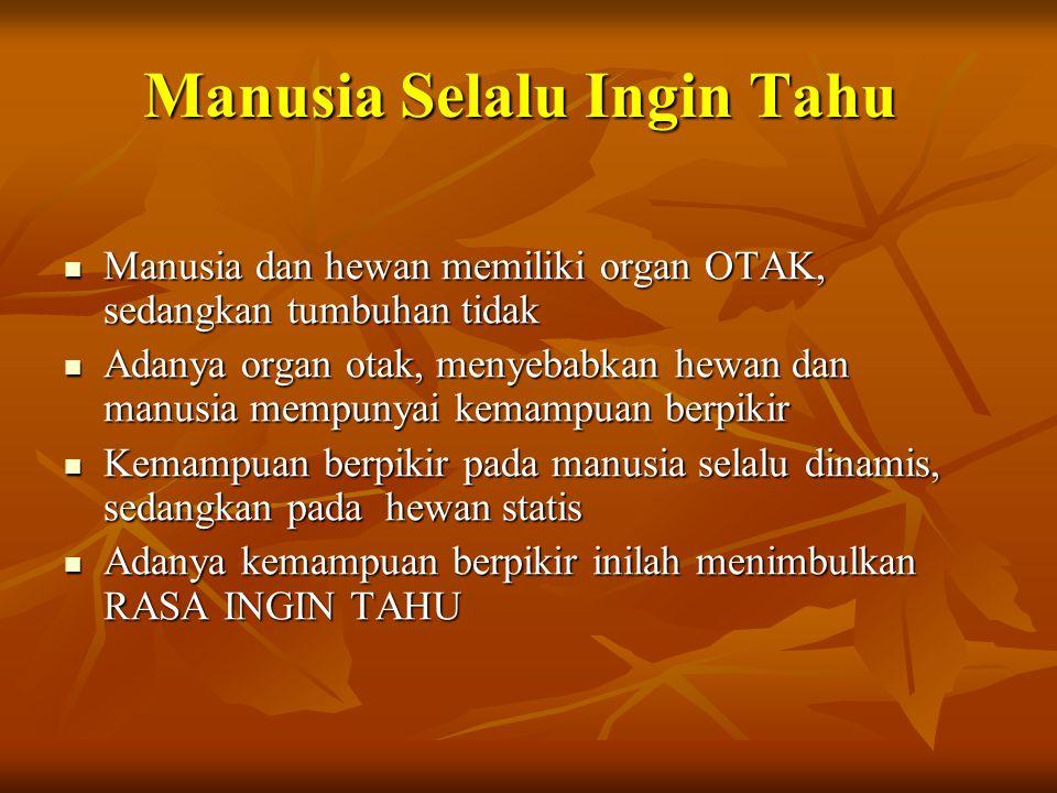 Manusia Selalu Ingin Tahu Manusia dan hewan memiliki organ OTAK, sedangkan tumbuhan tidak Manusia dan hewan memiliki organ OTAK, sedangkan tumbuhan ti