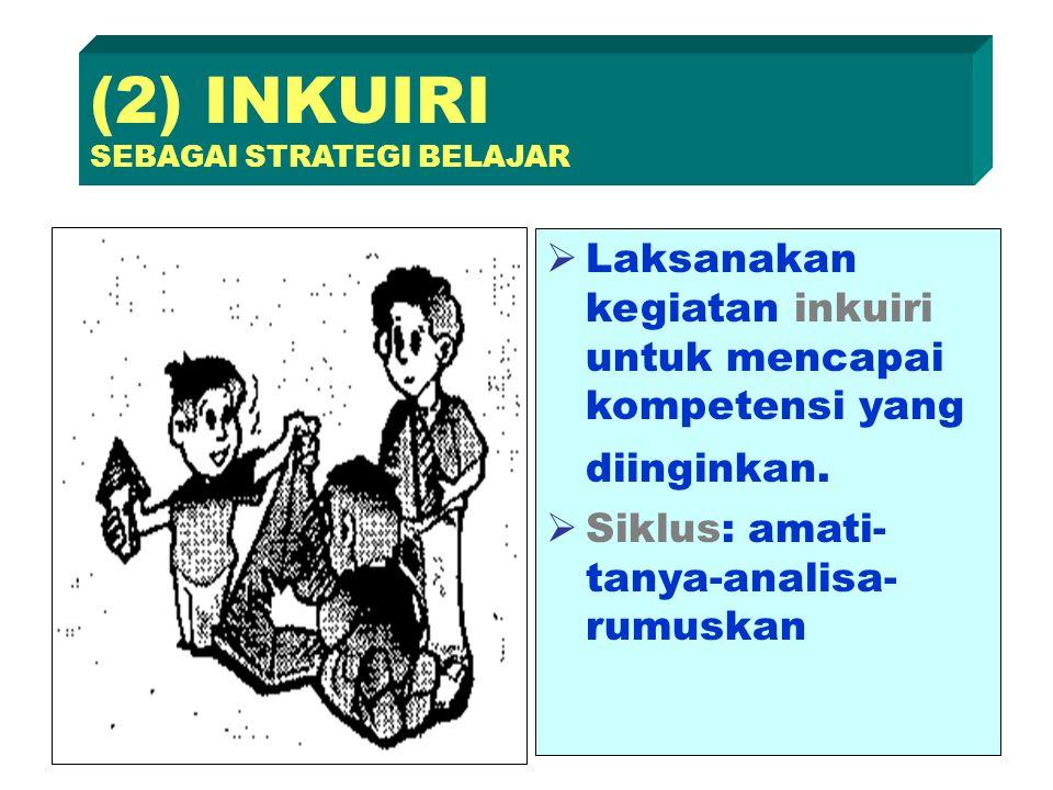  Laksanakan kegiatan inkuiri untuk mencapai kompetensi yang diinginkan.  Siklus: amati- tanya-analisa- rumuskan (2) INKUIRI SEBAGAI STRATEGI BELAJAR