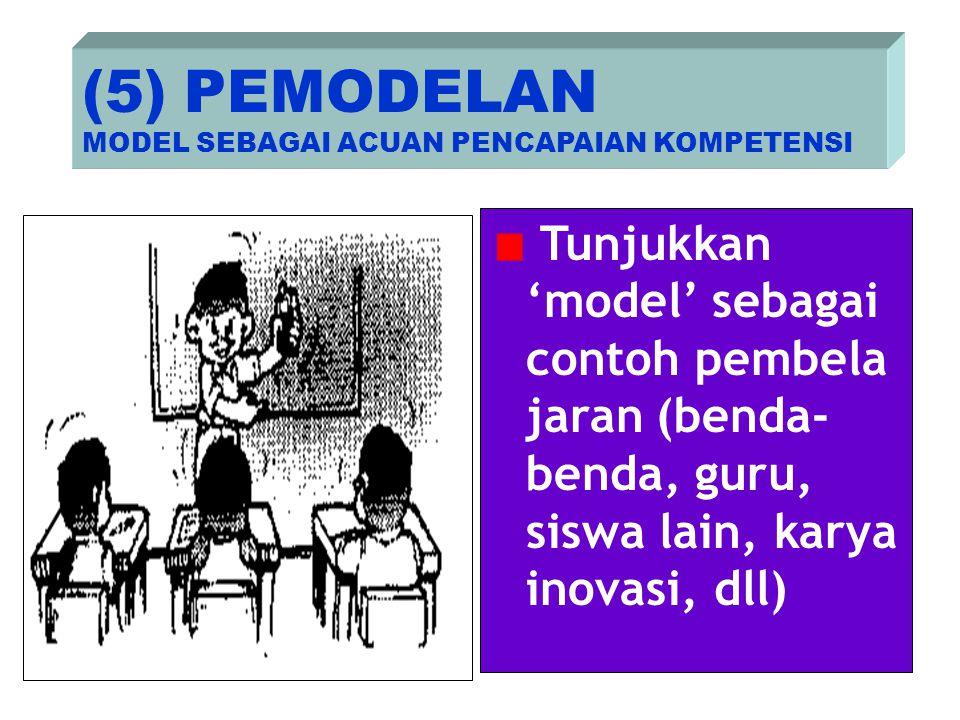 Tunjukkan 'model' sebagai contoh pembela jaran (benda- benda, guru, siswa lain, karya inovasi, dll) (5) PEMODELAN MODEL SEBAGAI ACUAN PENCAPAIAN KOMPE