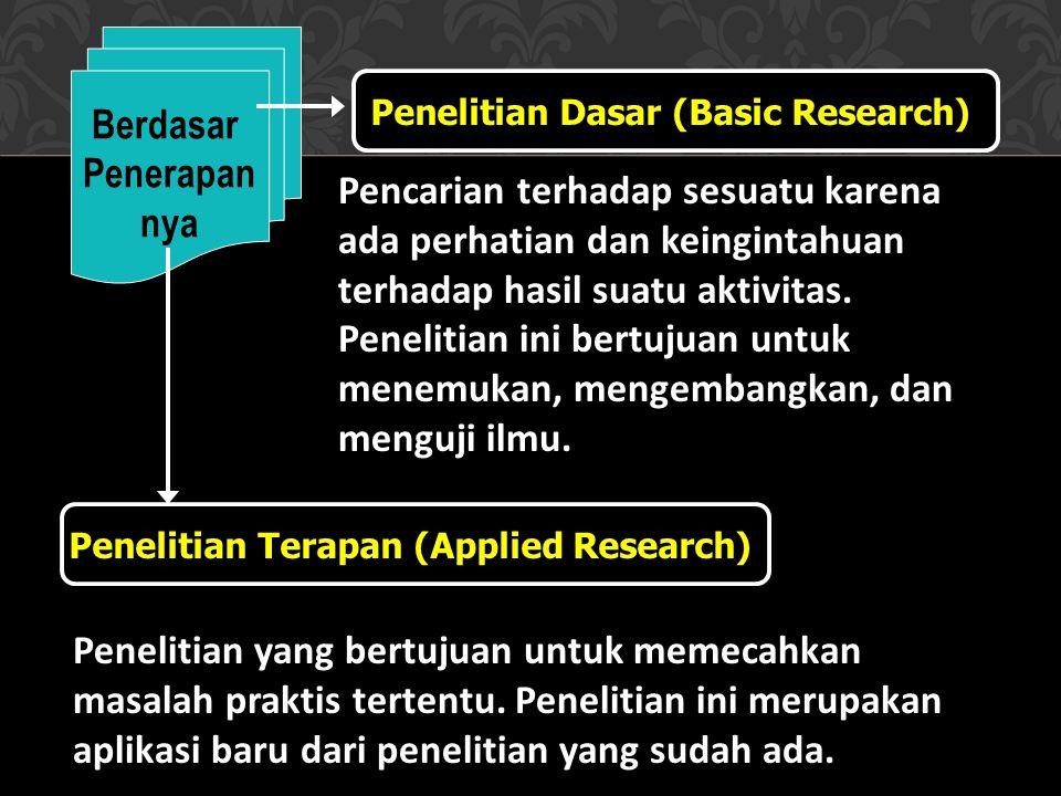 Jenis-Jenis Penelitian Pada Umumnya Berdasar tempatnya Penelitian Labolatorium Penelitian Perpustakaan Penelitian Lapangan, dll. Berdasar Bidang Ilmu
