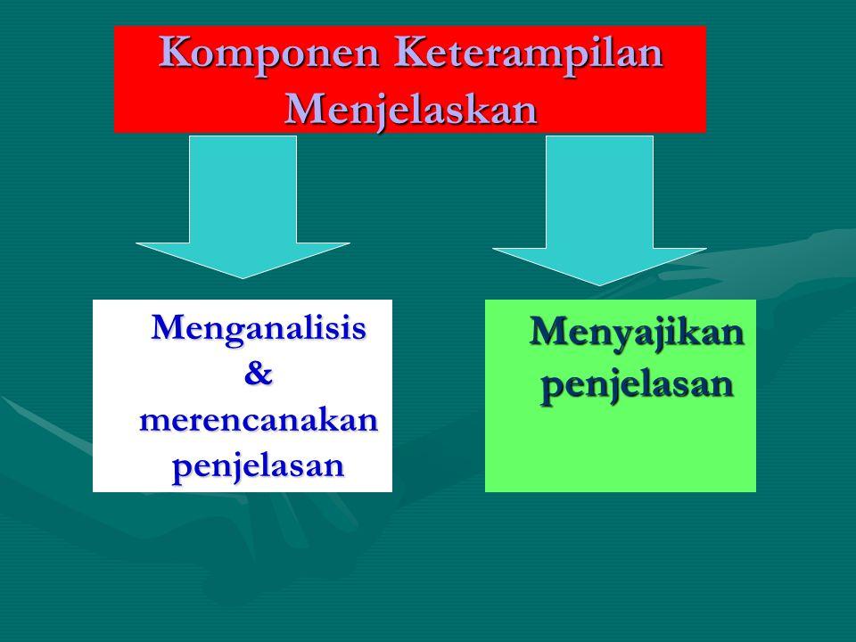 Komponen Keterampilan Menjelaskan Menganalisis & merencanakan penjelasan Menyajikan penjelasan