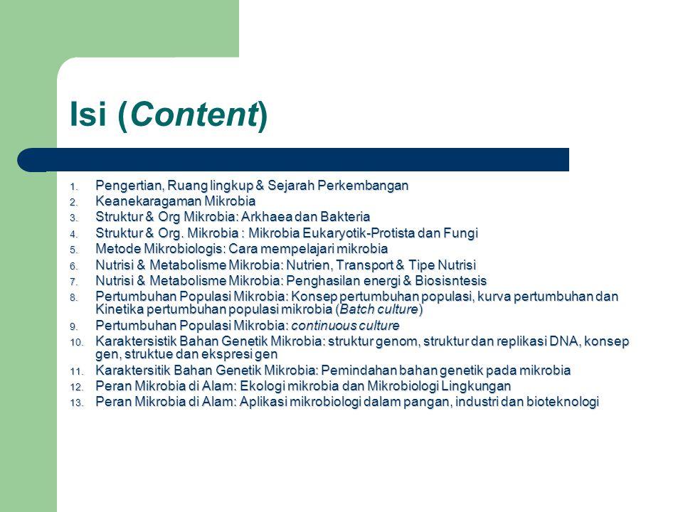 Isi (Content) 1. Pengertian, Ruang lingkup & Sejarah Perkembangan 2. Keanekaragaman Mikrobia 3. Struktur & Org Mikrobia: Arkhaea dan Bakteria 4. Struk