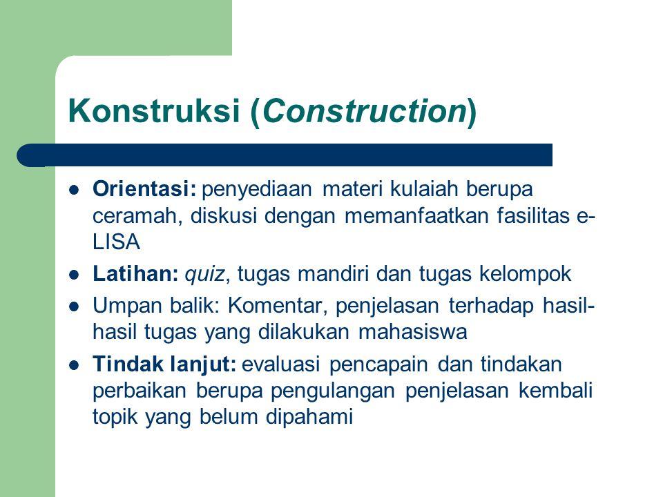 Konstruksi (Construction) Orientasi: penyediaan materi kulaiah berupa ceramah, diskusi dengan memanfaatkan fasilitas e- LISA Latihan: quiz, tugas mand