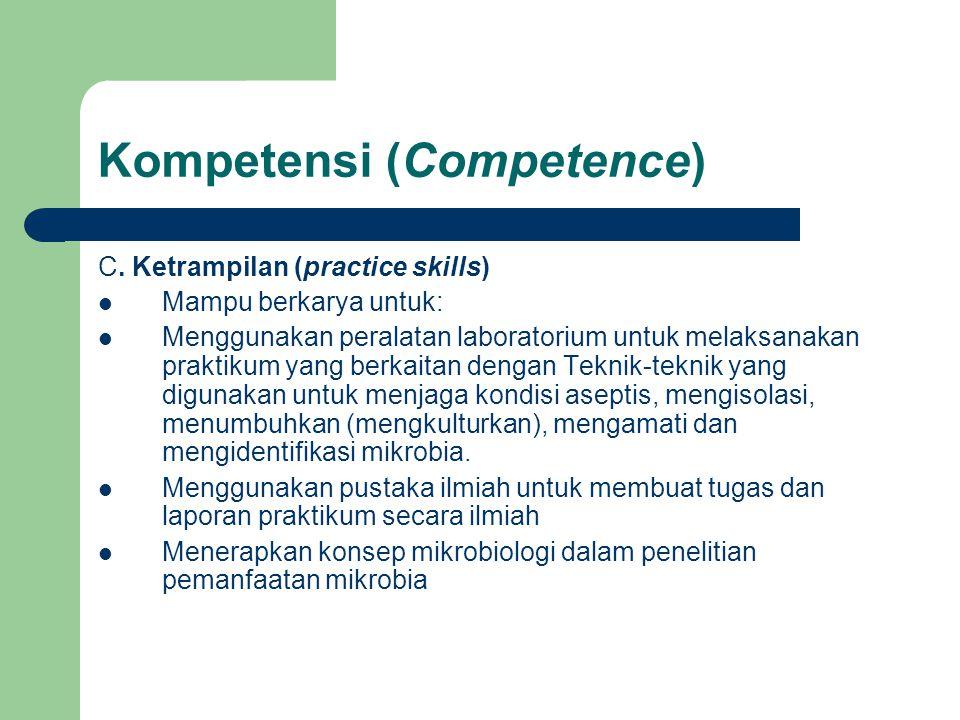 Kompetensi (Competence) C. Ketrampilan (practice skills) Mampu berkarya untuk: Menggunakan peralatan laboratorium untuk melaksanakan praktikum yang be