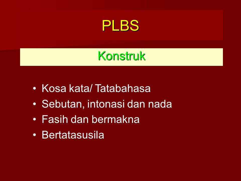 Konstruk PLBS Kosa kata/ Tatabahasa Sebutan, intonasi dan nada Fasih dan bermakna Bertatasusila