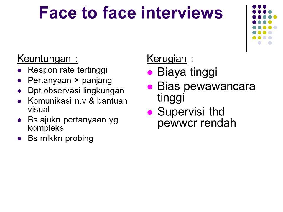 Face to face interviews Keuntungan : Respon rate tertinggi Pertanyaan > panjang Dpt observasi lingkungan Komunikasi n.v & bantuan visual Bs ajukn pert
