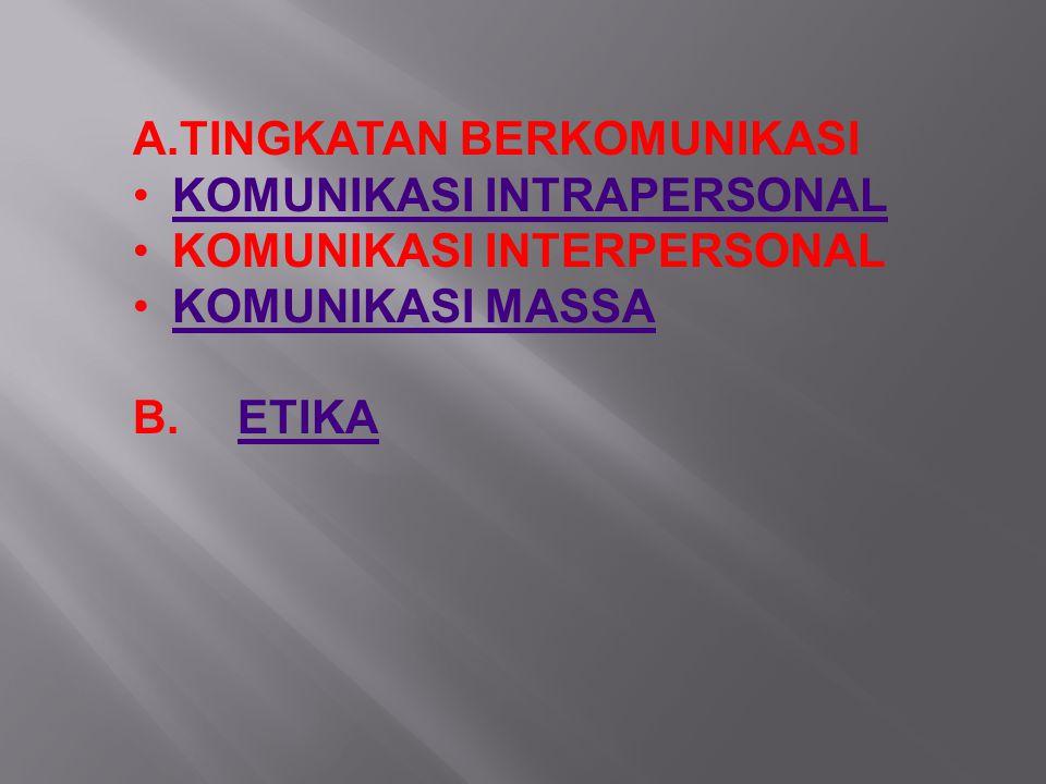 A.TINGKATAN BERKOMUNIKASI KOMUNIKASI INTRAPERSONAL KOMUNIKASI INTERPERSONAL KOMUNIKASI MASSA B.ETIKAETIKA