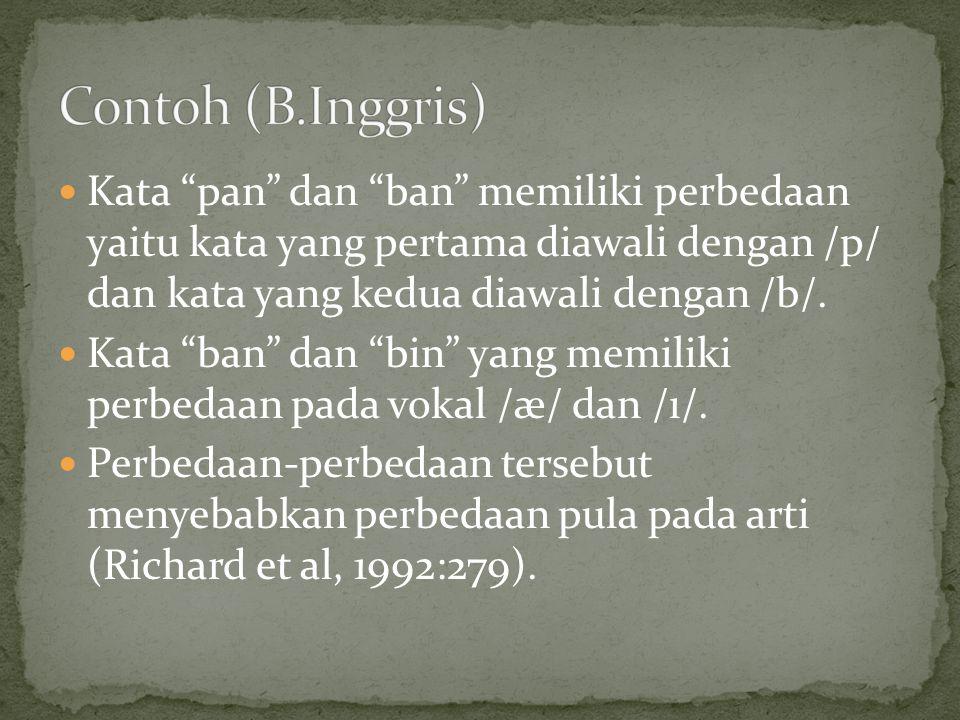 Kata pan dan ban memiliki perbedaan yaitu kata yang pertama diawali dengan /p/ dan kata yang kedua diawali dengan /b/.