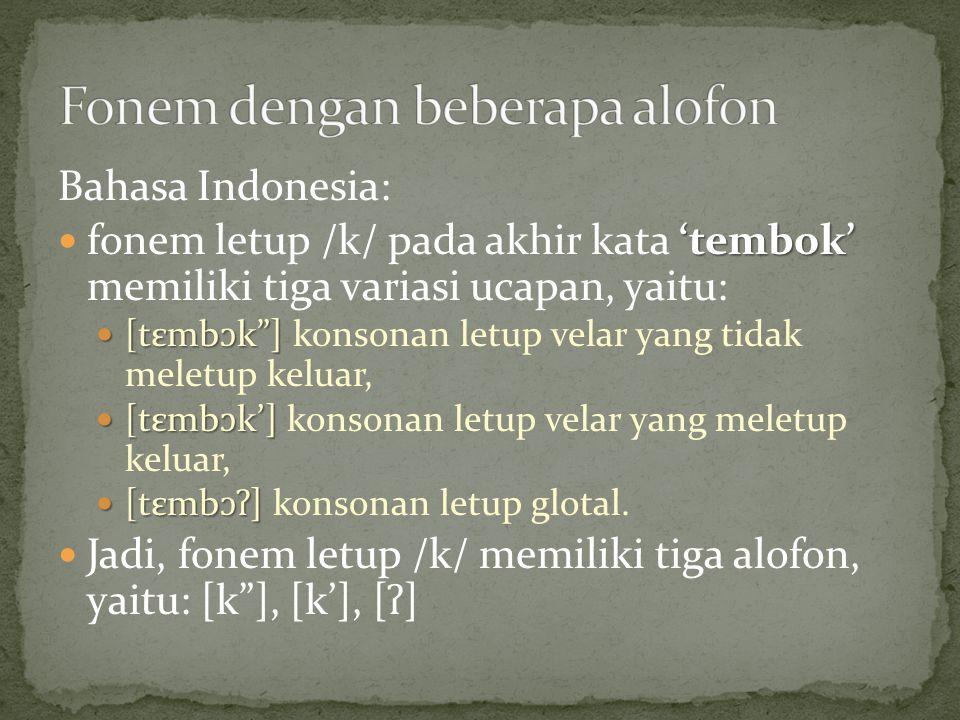 Bahasa Indonesia: 'tembok' fonem letup /k/ pada akhir kata 'tembok' memiliki tiga variasi ucapan, yaitu: [tεmb ɔ k ] [tεmb ɔ k ] konsonan letup velar yang tidak meletup keluar, [tεmb ɔ k'] [tεmb ɔ k'] konsonan letup velar yang meletup keluar, [tεmb ɔʔ ] [tεmb ɔʔ ] konsonan letup glotal.