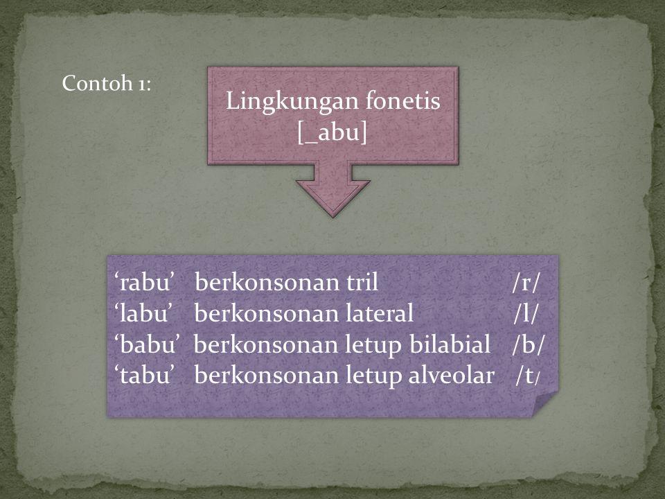 Lingkungan fonetis [_abu] 'rabu' berkonsonan tril /r/ 'labu' berkonsonan lateral /l/ 'babu' berkonsonan letup bilabial /b/ 'tabu' berkonsonan letup alveolar /t / 'rabu' berkonsonan tril /r/ 'labu' berkonsonan lateral /l/ 'babu' berkonsonan letup bilabial /b/ 'tabu' berkonsonan letup alveolar /t / Contoh 1: