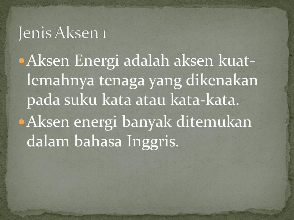 Aksen Energi adalah aksen kuat- lemahnya tenaga yang dikenakan pada suku kata atau kata-kata. Aksen energi banyak ditemukan dalam bahasa Inggris.