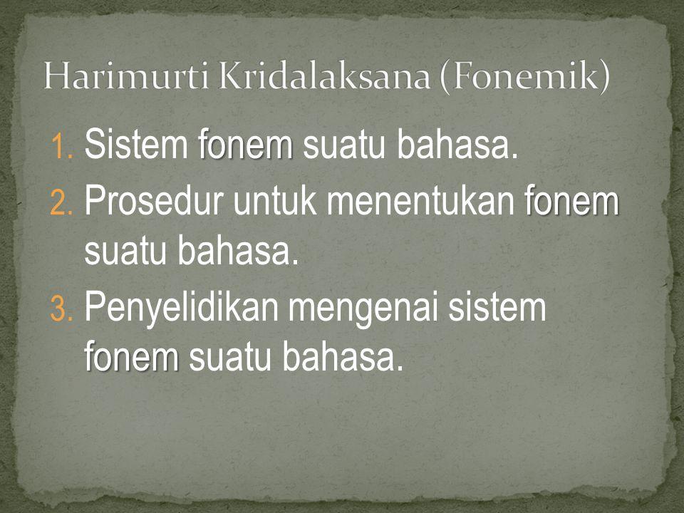 fonem 1.Sistem fonem suatu bahasa. fonem 2. Prosedur untuk menentukan fonem suatu bahasa.