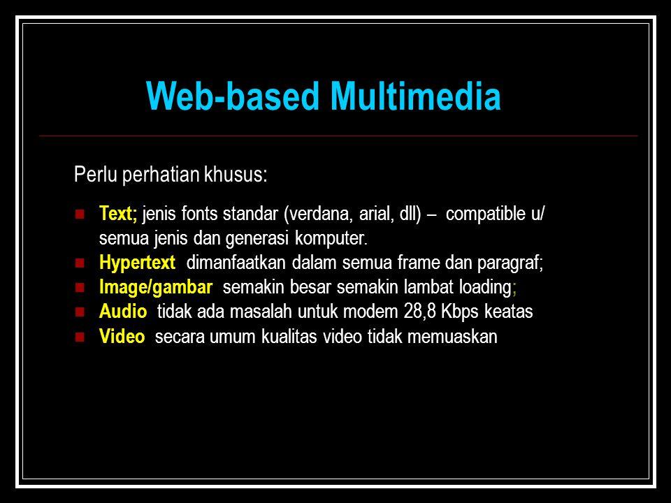 Text; jenis fonts standar (verdana, arial, dll) – compatible u/ semua jenis dan generasi komputer. Hypertext; dimanfaatkan dalam semua frame dan parag