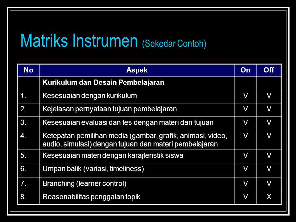 Matriks Instrumen (Sekedar Contoh) NoAspekOnOff Kurikulum dan Desain Pembelajaran 1.Kesesuaian dengan kurikulumVV 2.Kejelasan pernyataan tujuan pembelajaranVV 3.Kesesuaian evaluasi dan tes dengan materi dan tujuanVV 4.Ketepatan pemilihan media (gambar, grafik, animasi, video, audio, simulasi) dengan tujuan dan materi pembelajaran VV 5.Kesesuaian materi dengan karajteristik siswaVV 6.Umpan balik (variasi, timeliness)VV 7.Branching (learner control)VV 8.Reasonabilitas penggalan topikVX