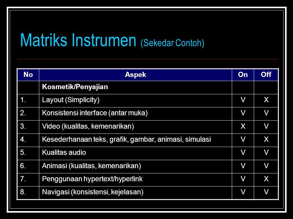 Matriks Instrumen (Sekedar Contoh) NoAspekOnOff Kosmetik/Penyajian 1.Layout (Simplicity)VX 2.Konsistensi interface (antar muka)VV 3.Video (kualitas, kemenarikan)XV 4.Kesederhanaan teks, grafik, gambar, animasi, simulasiVX 5.Kualitas audioVV 6.Animasi (kualitas, kemenarikan)VV 7.Penggunaan hypertext/hyperlinkVX 8.Navigasi (konsistensi, kejelasan)VV