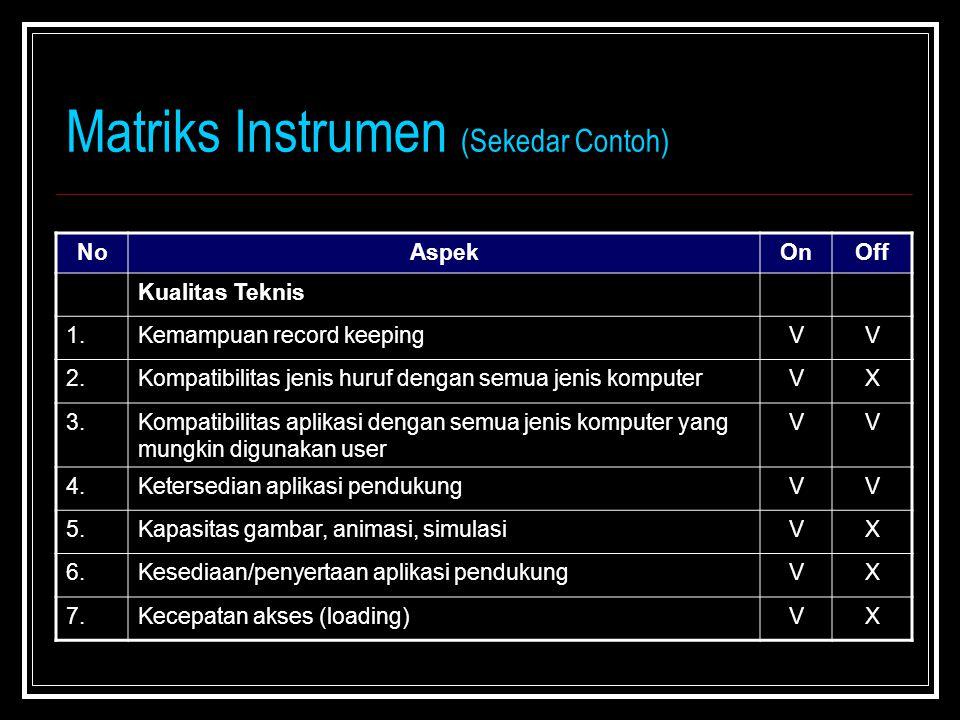 Matriks Instrumen (Sekedar Contoh) NoAspekOnOff Kualitas Teknis 1.Kemampuan record keepingVV 2.Kompatibilitas jenis huruf dengan semua jenis komputerV