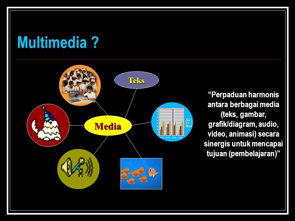 """Multimedia ? Media Teks """"Perpaduan harmonis antara berbagai media (teks, gambar, grafik/diagram, audio, video, animasi) secara sinergis untuk mencapai"""
