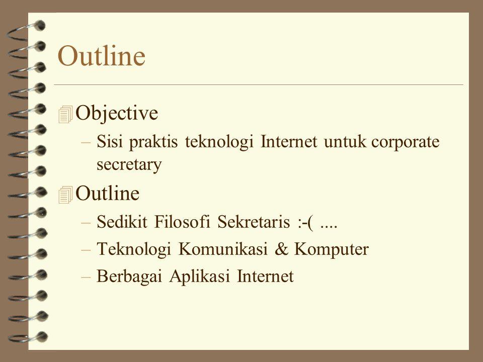 Outline 4 Objective –Sisi praktis teknologi Internet untuk corporate secretary 4 Outline –Sedikit Filosofi Sekretaris :-(....