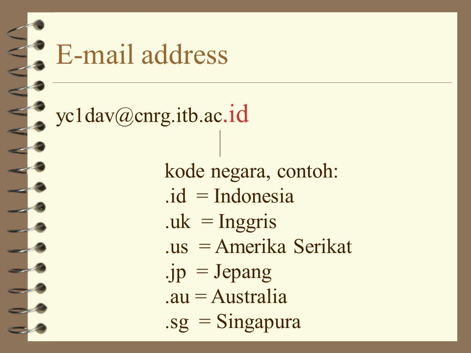 """E-mail address yc1dav@cnrg.itb.ac.id yc1davNama User @""""at"""" (bahasa Inggris) cnrg.itb.ac.idNama Mesin"""