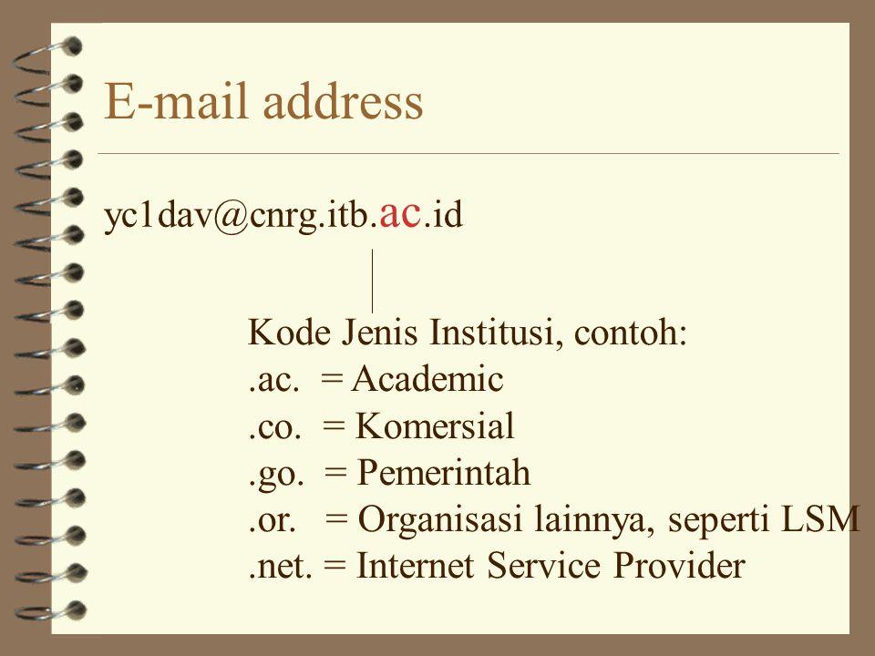 E-mail address yc1dav@cnrg.itb.ac.id kode negara, contoh:.id = Indonesia.uk = Inggris.us = Amerika Serikat.jp = Jepang.au = Australia.sg = Singapura