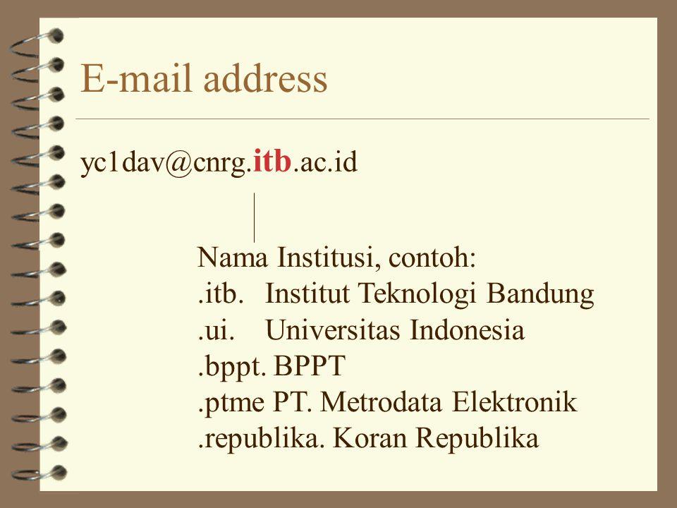 E-mail address yc1dav@cnrg.itb. ac.id Kode Jenis Institusi, contoh:.ac. = Academic.co. = Komersial.go. = Pemerintah.or. = Organisasi lainnya, seperti