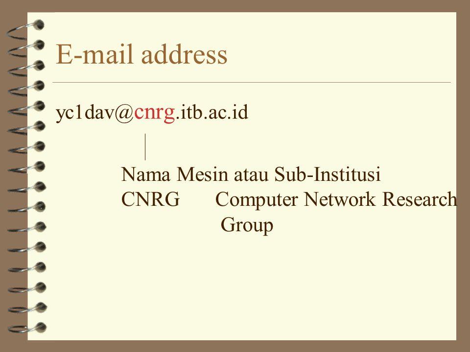 E-mail address yc1dav@cnrg. itb.ac.id Nama Institusi, contoh:.itb.Institut Teknologi Bandung.ui.Universitas Indonesia.bppt. BPPT.ptme PT. Metrodata El