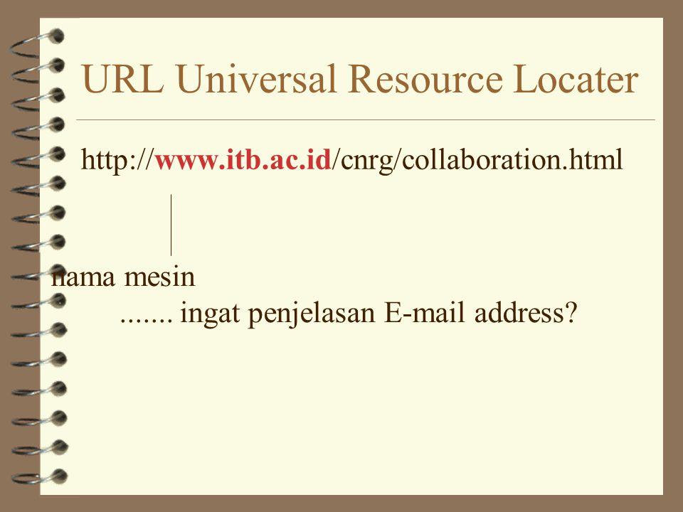 URL Universal Resource Locater http ://www.itb.ac.id/cnrg/collaboration.html Protokol yang digunakan untuk berbicara httpHyper Text Transport Protocol