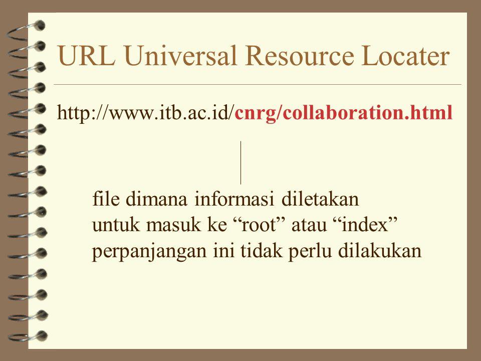 URL Universal Resource Locater http://www.itb.ac.id/cnrg/collaboration.html nama mesin....... ingat penjelasan E-mail address?