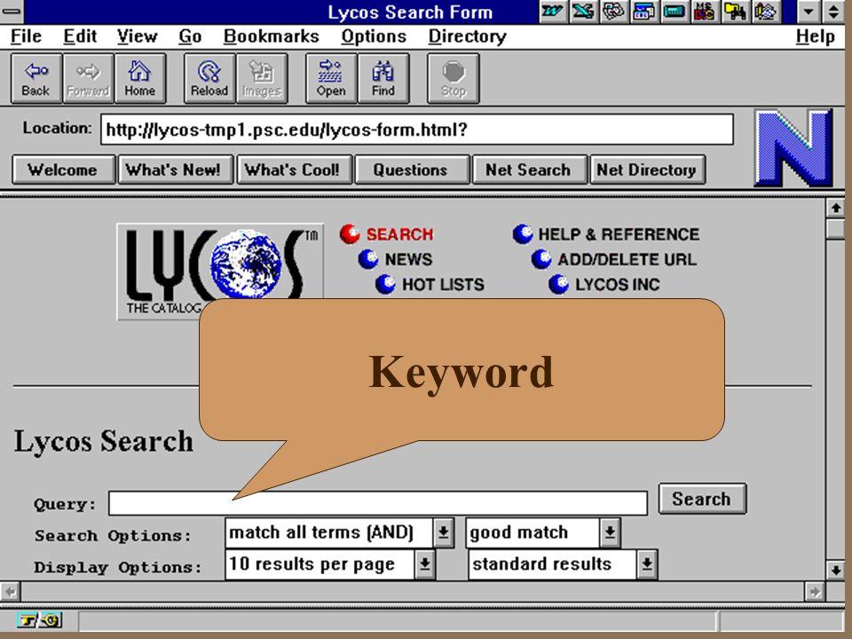 Search Engine Internet 4 http://www.opentext.com/ 4 http://www.yahoo.com/ 4 http://www.altavista.digital.com/ 4 http://www.lycos.com/ 4 http://www.web