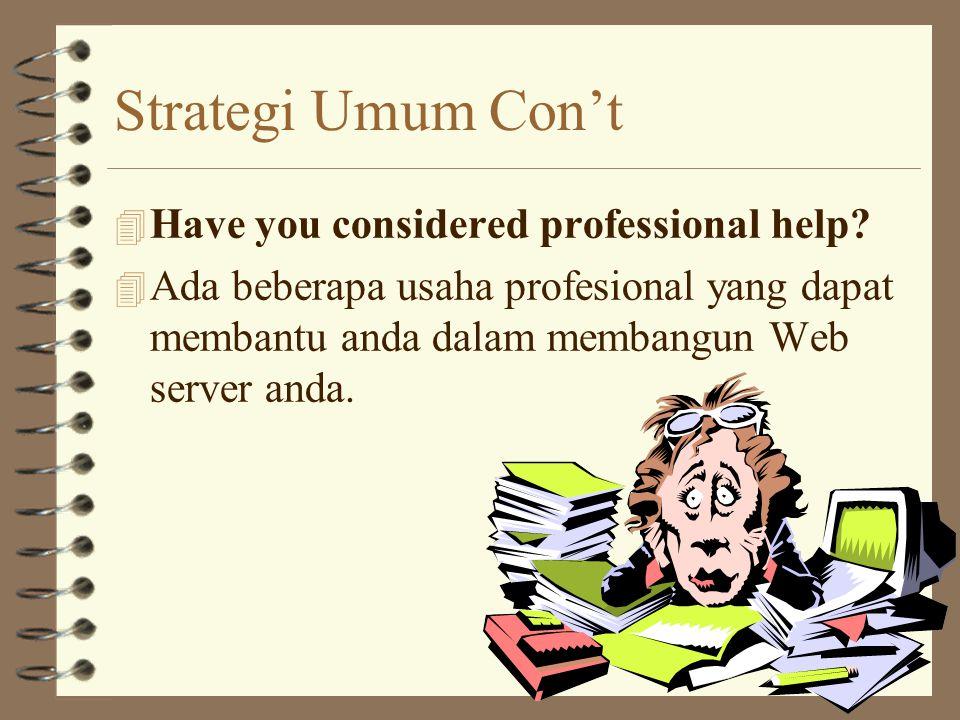 Strategi Umum Con't 4 The name of the game is the domain. 4 Gunakan domain name yang memudahkan orang mengingat & berfikiran global.