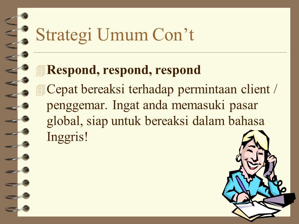 Strategi Umum Con't 4 Don't waste your time, do a timeline. 4 Begitu anda launching Web site anda di Internet. Jangan berharap akan menarik banyak pen