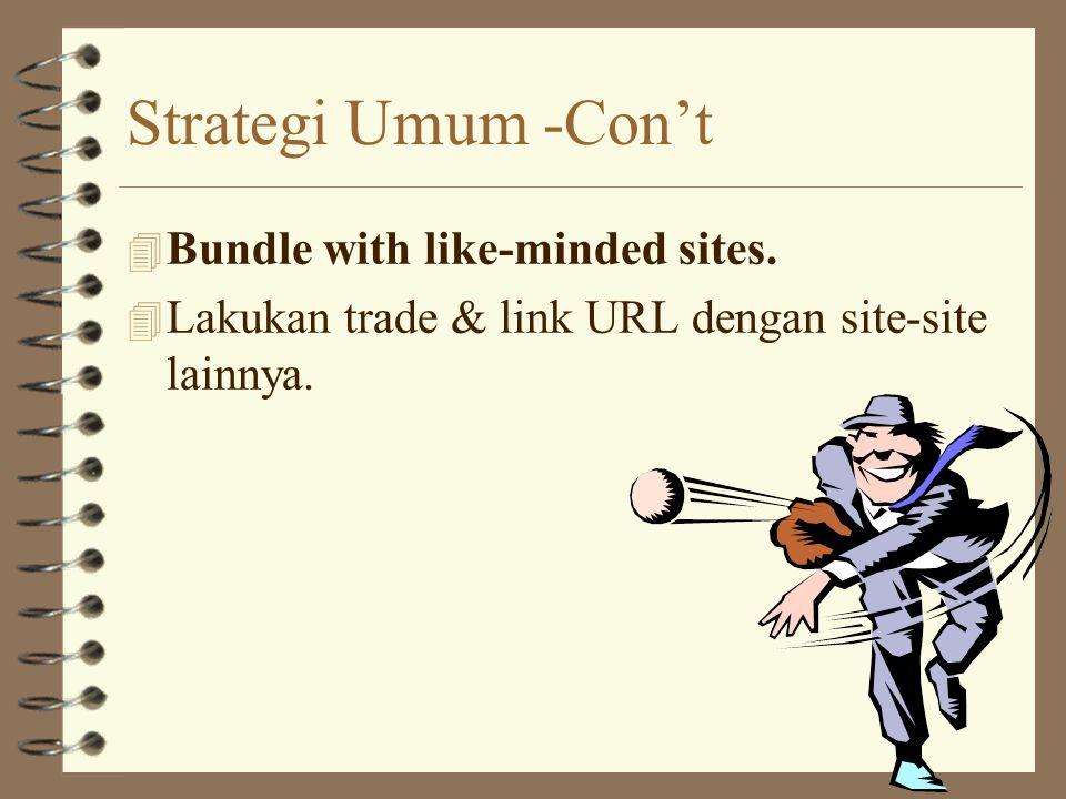 Strategi Umum - Con't 4 Build an honor roll. 4 Beri acknowledge bagi orang / site yang me-refer kepada site anda.