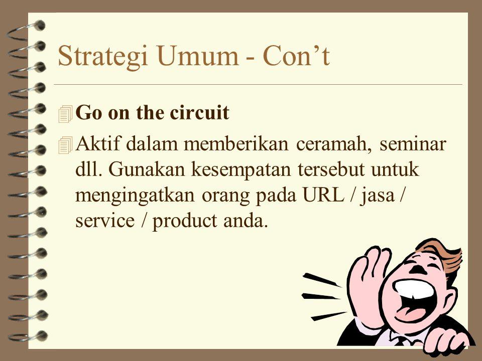 Strategi Umum -Con't 4 Bundle with like-minded sites. 4 Lakukan trade & link URL dengan site-site lainnya.