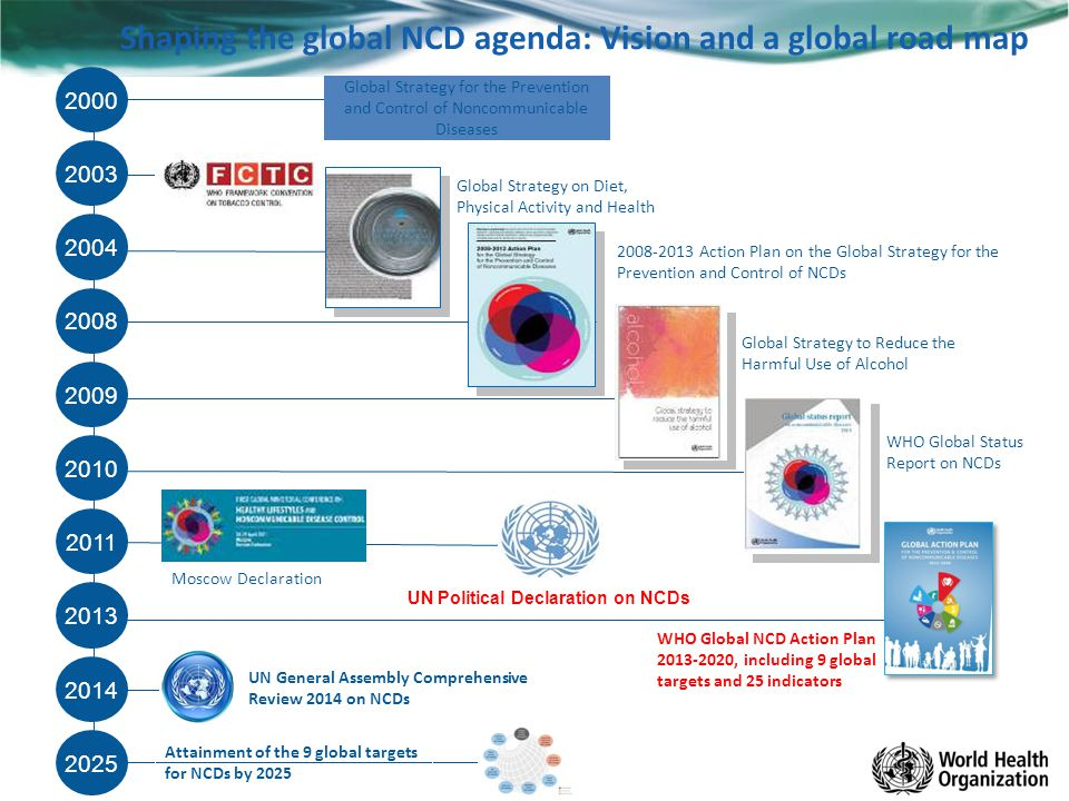 WHO Global NCD Action Plan 2013-2020, including 9 global targets and 25 indicators Shaping the global NCD agenda: Vision and a global road map 2000 20