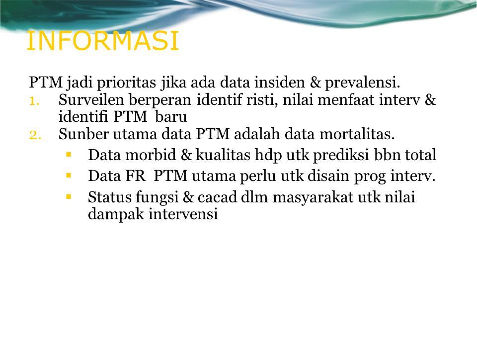 INFORMASI PTM jadi prioritas jika ada data insiden & prevalensi. 1.Surveilen berperan identif risti, nilai menfaat interv & identifi PTM baru 2.Sunber