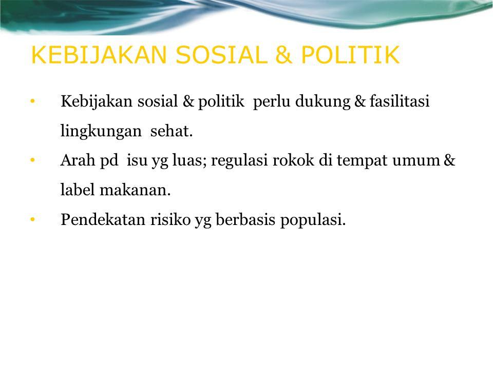 KEBIJAKAN SOSIAL & POLITIK Kebijakan sosial & politik perlu dukung & fasilitasi lingkungan sehat. Arah pd isu yg luas; regulasi rokok di tempat umum &