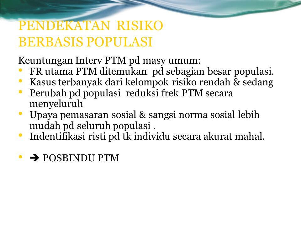 PENDEKATAN RISIKO BERBASIS POPULASI Keuntungan Interv PTM pd masy umum: FR utama PTM ditemukan pd sebagian besar populasi.