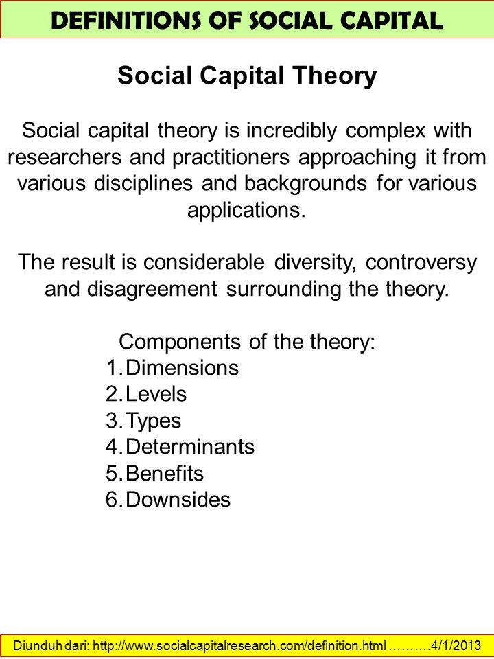 Diunduh dari: http://www.socialcapitalresearch.com/definition.html ……….4/1/2013 DEFINITIONS OF SOCIAL CAPITAL Social Capital Theory Social capital theory is incredibly complex with researchers and practitioners approaching it from various disciplines and backgrounds for various applications.