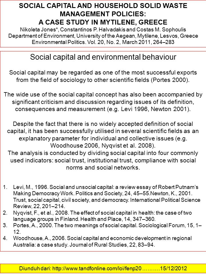 Diunduh dari: http://www.tandfonline.com/loi/fenp20 ……….15/12/2012 SOCIAL CAPITAL AND HOUSEHOLD SOLID WASTE MANAGEMENT POLICIES: A CASE STUDY IN MYTILENE, GREECE Nikoleta Jones*, Constantinos P.
