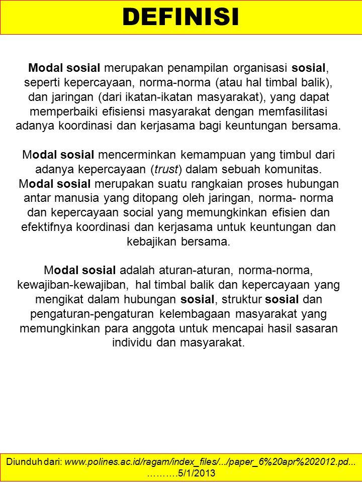 Diunduh dari: ……….4/1/2013 DEFINIFTION OF SOCIAL CAPITAL