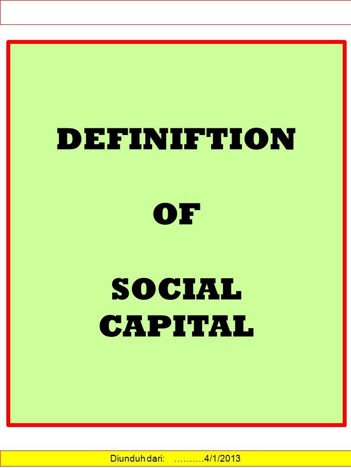 Diunduh dari: http://id.wikipedia.org/wiki/Modal_sosial……….15/12/2012 MODAL SOSIAL Definisi Modal sosial adalah bagian-bagian dari organisasi sosial seperti kepercayaan, norma dan jaringan yang dapat meningkatkan efisiensi masyarakat dengan memfasilitasi tindakan-tindakan yang terkoordinasi.