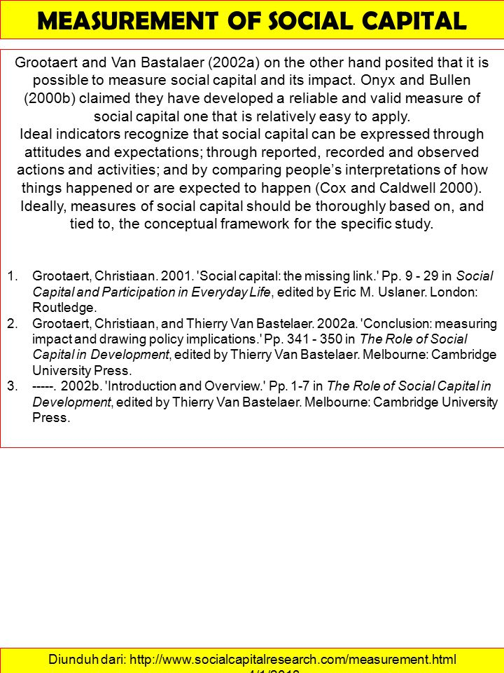 Diunduh dari: http://www.socialcapitalresearch.com/measurement.html ……….4/1/2013 MEASUREMENT OF SOCIAL CAPITAL Grootaert and Van Bastalaer (2002a) on the other hand posited that it is possible to measure social capital and its impact.