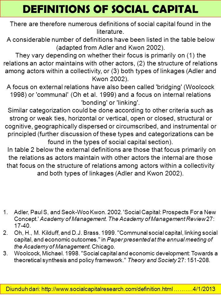 Diunduh dari: http://www.socialcapitalresearch.com/measurement.html ……….4/1/2013 MEASUREMENT OF SOCIAL CAPITAL Paxton (1999) identified the widening gap between the concept of social capital and its measurement.