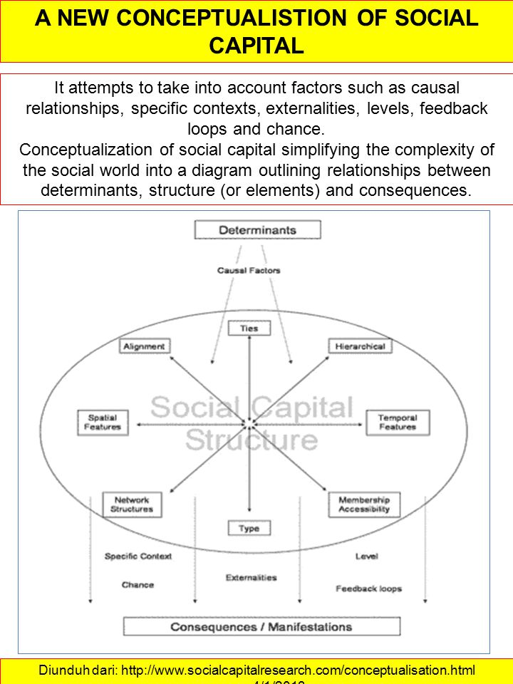 Diunduh dari: http://www.socialcapitalresearch.com/conceptualisation.html ……….4/1/2013 A NEW CONCEPTUALISTION OF SOCIAL CAPITAL It attempts to take into account factors such as causal relationships, specific contexts, externalities, levels, feedback loops and chance.