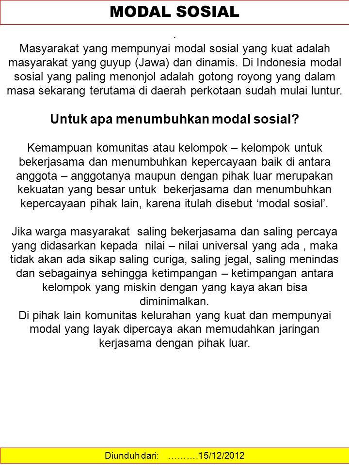 Diunduh dari: ……….15/12/2012 MODAL SOSIAL. Masyarakat yang mempunyai modal sosial yang kuat adalah masyarakat yang guyup (Jawa) dan dinamis. Di Indone