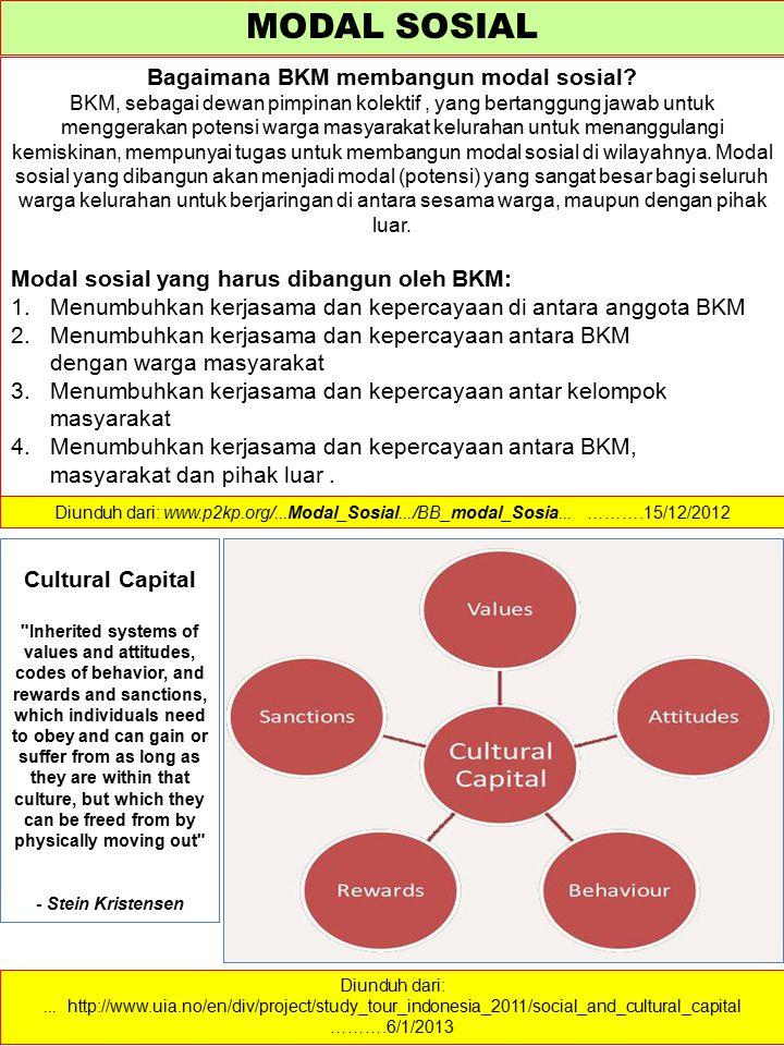 MODAL SOSIAL Bagaimana BKM membangun modal sosial? BKM, sebagai dewan pimpinan kolektif, yang bertanggung jawab untuk menggerakan potensi warga masyar