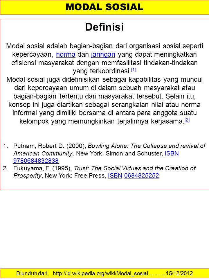 Diunduh dari: http://id.wikipedia.org/wiki/Modal_sosial……….15/12/2012 MODAL SOSIAL Definisi Modal sosial adalah bagian-bagian dari organisasi sosial s