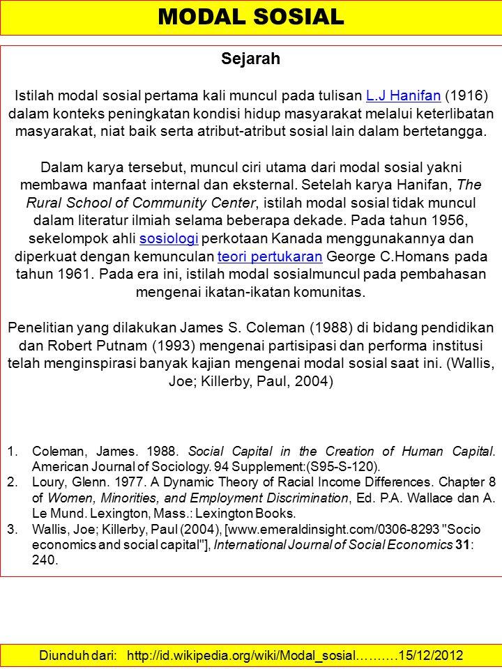 Diunduh dari: http://id.wikipedia.org/wiki/Modal_sosial……….15/12/2012 MODAL SOSIAL Sejarah Istilah modal sosial pertama kali muncul pada tulisan L.J H