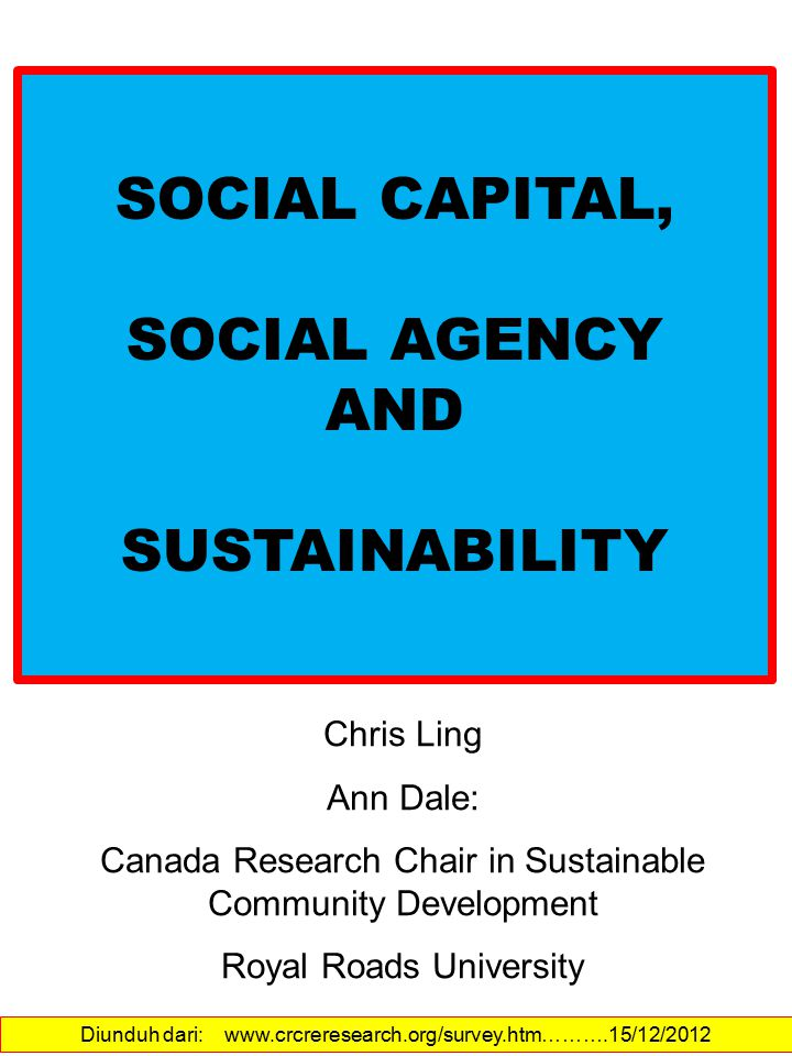 SOCIAL CAPITAL, SOCIAL AGENCY AND SUSTAINABILITY Chris Ling Ann Dale: Canada Research Chair in Sustainable Community Development Royal Roads University Diunduh dari: www.crcreresearch.org/survey.htm……….15/12/2012